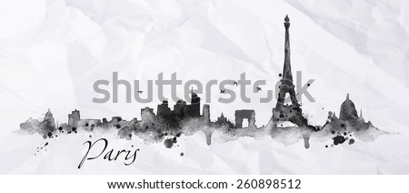 silhouette paris city painted