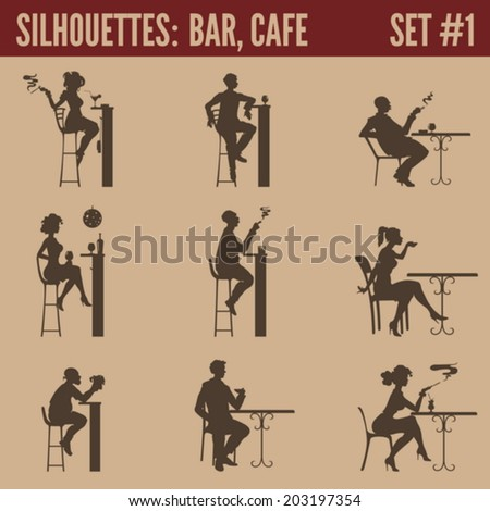 Silhouette people collection Cafe bar restaurant bistro cafeteria visitors men women silhouettes