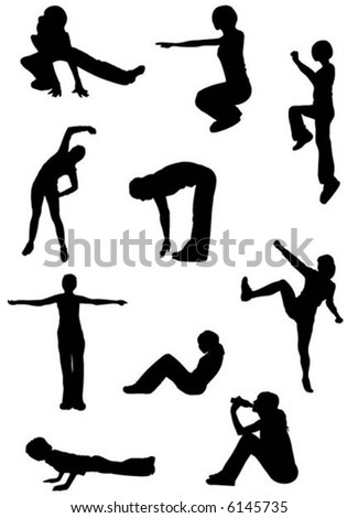silhouette people doing fitness exercises