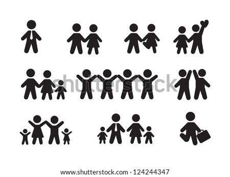 Shutterstock Silhouette people icons over white background vector illustration