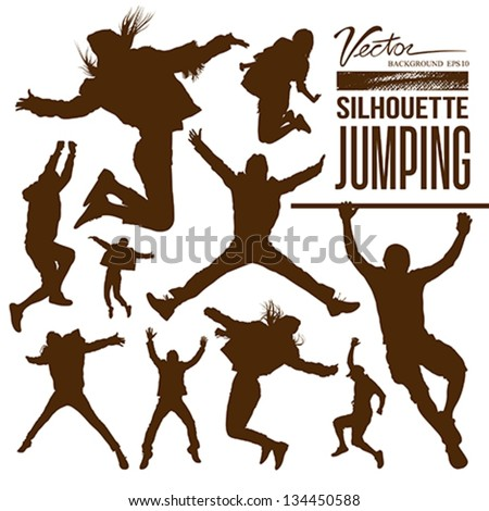 Silhouette people jumping design background, vector illustration
