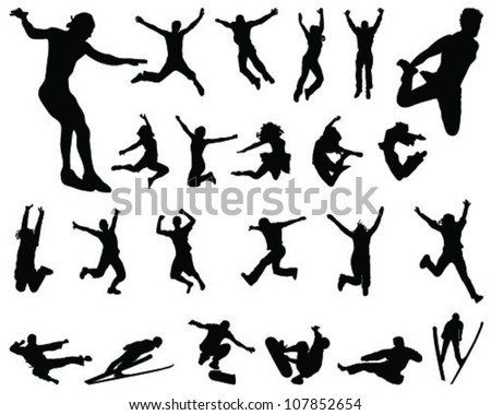 silhouette people jumping 2