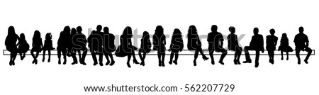 silhouette people sitting set, vector image, isolated