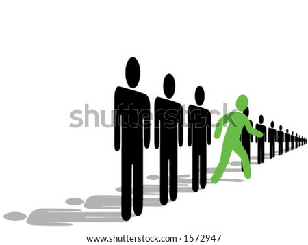 "Silhouette people, ""Step out from the Crowd, Be an Innovator, an Early Adopter!"""