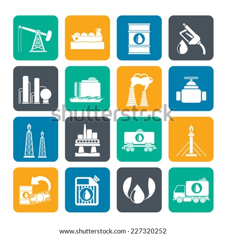 Silhouette Petrol and oil industry icons vector icon set