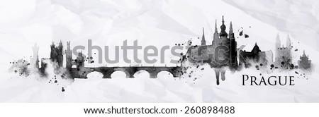 silhouette prague city painted