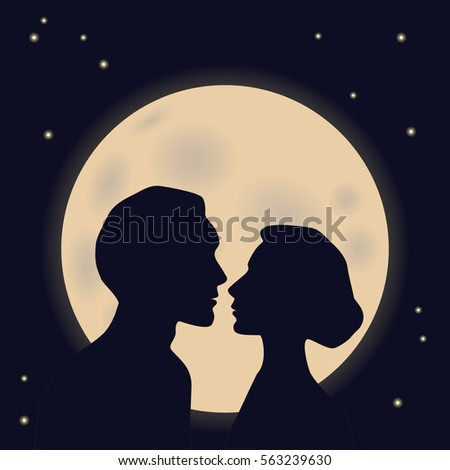 silhouette profile of couples