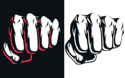 Silhouette punch blow jab hitting front view fist clenched vector combat attack icon logo illustration isolated on white background