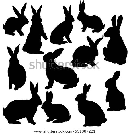 silhouette rabbit - vector, illustration