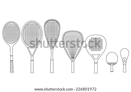 Silhouette rackets, with tennis racket, squash racket, ping pong racket, paddle racket. Vector illustration set. Сток-фото ©