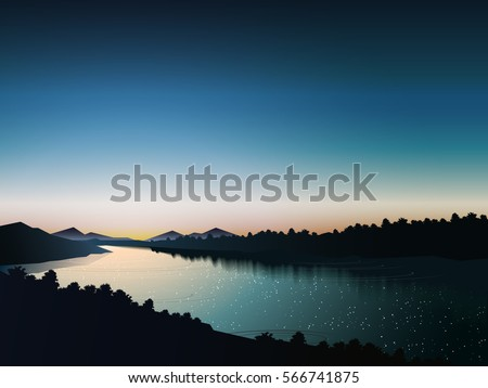 silhouette river at evening