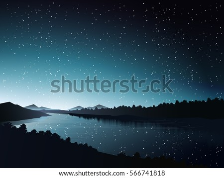 silhouette river at night