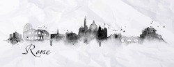 Silhouette Rome city with splashes drops and streaks landmarks drawing with ink on crumpled paper background.