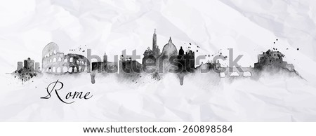silhouette rome city with