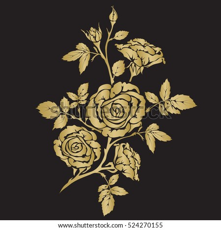Silhouette rose branch with opened flowers and buds, hand drawn vector, gold color on black background