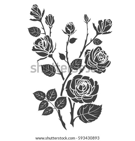 silhouette roses and leaves