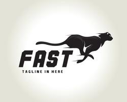 silhouette running, jump fast speed black cat, lion, tiger, panther, cheetah logo symbol design illustration