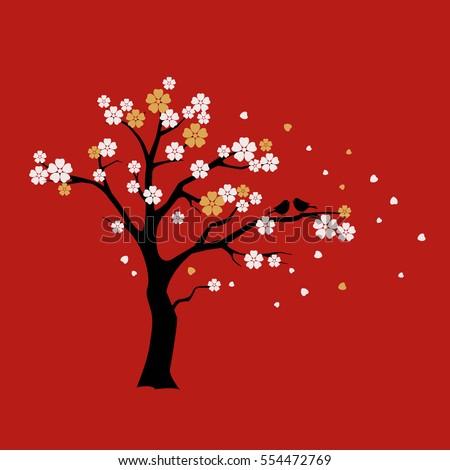 silhouette sakura tree with