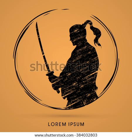 silhouette samurai  ready to