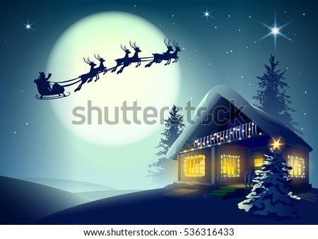 silhouette santa claus and