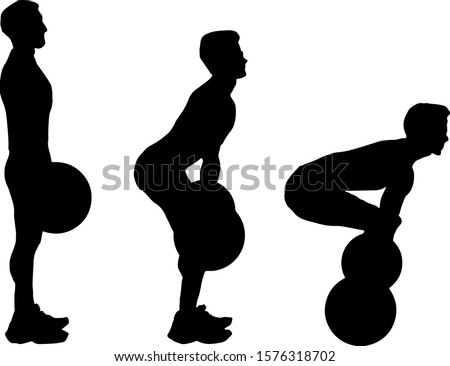Silhouette sequence of a weightlifter doing a deadlift exercise. Vector illustration.