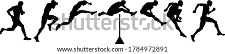 Silhouette sequence of sprinter hurdler leaping over a hurdle. Vector illustration. Сток-фото ©