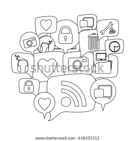 silhouette set collection dialogue social icons vector illustration