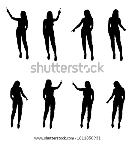 Silhouette set of elegant young  business woman pointing finger while using interactive touch screen in different poses. Layered vector illustration.