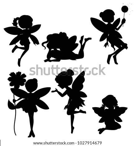Silhouette set of fairies illustration