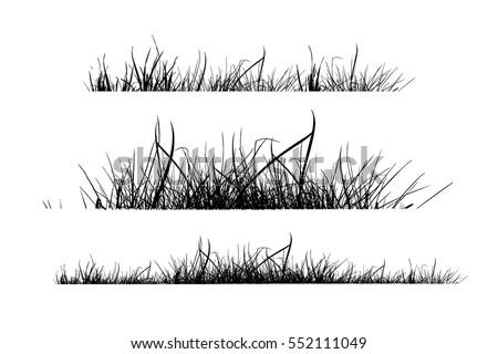 silhouette set of grass vector