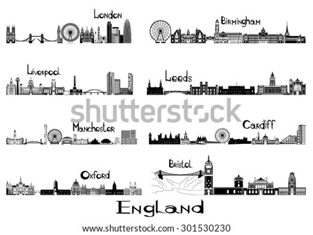 silhouette sights of 8 cities