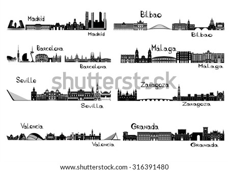 silhouette signts of 8 cities