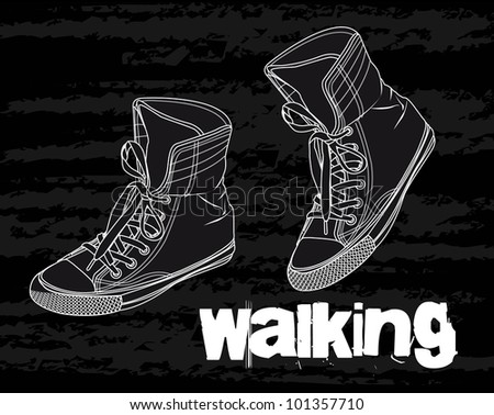 silhouette sneakers over black background. vector illustration