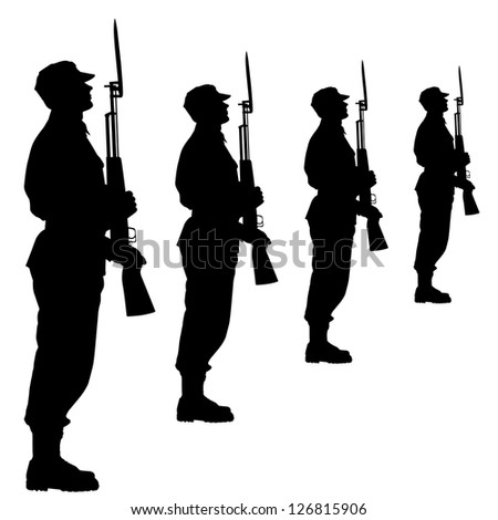 silhouette soldiers during a