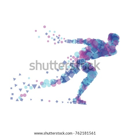 silhouette speed skater vector
