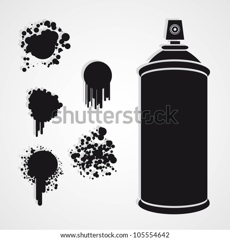 Silhouette spray bottle with paint stains, vector illustration