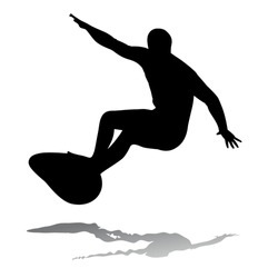 silhouette surfer man on surfboard, white background