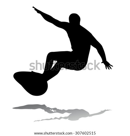 silhouette surfer man on