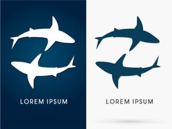 Silhouette, Swimming Shark, sign ,logo, symbol, icon, graphic, vector.