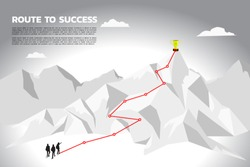 Silhouette team businessman plan to get champion trophy on top of mountain. Concept of teamwork and planning path in business