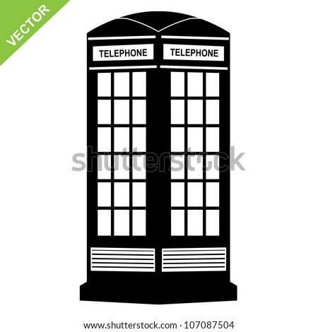 silhouette telephone call box vector - stock vector