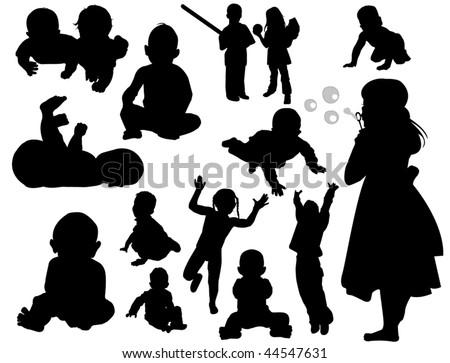 Silhouette toddlers and babies