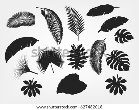 Silhouette tropical leaves set isolated, suitable for nature concept, summer and holiday. Vector illustration