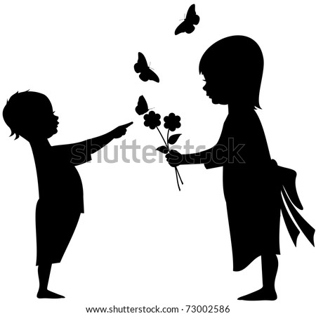 stock-vector-silhouette-vector-illustration-of-an-infant-with-a-young-girl-offering-flowers-with-butterflies