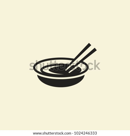 Silhouette vector illustration of bowl with soup. Food vector logo for restaurants
