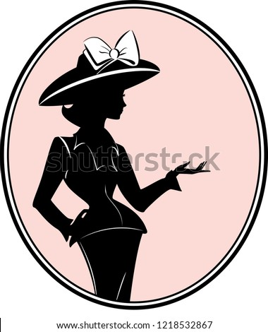 Silhouette vector illustration of Chanel Suit Woman with Hat in pink Frame