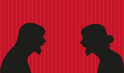 Silhouette vector illustration of two angry women yelling at each other. Women arguing vector illustration. Red background.