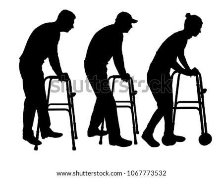 Silhouette vector of a disabled man and woman walking, using a walker. The concept of rehabilitation of people with injuries