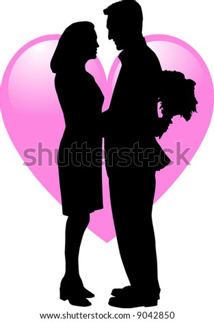 in love silhouette. Vector of 2 people in Love