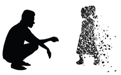 Silhouette vector of Sad man sitting missing his lost daughter looking the empty